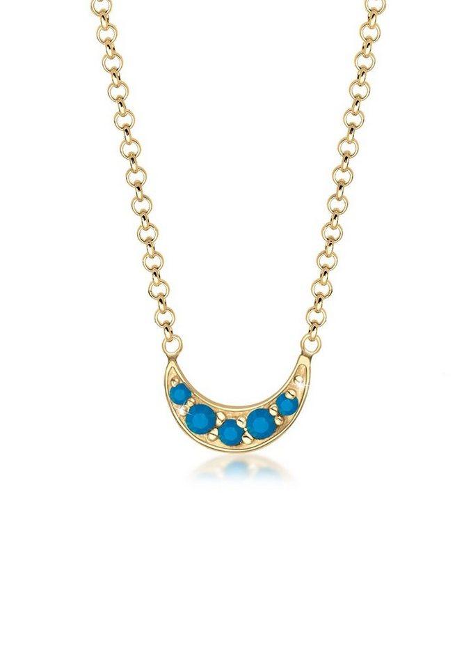 Elli Halskette »Halbmond Swarovski® Kristalle 925 Sterling Silber« in Blau