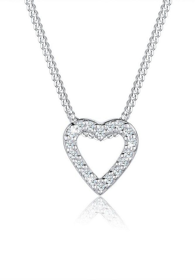 Elli Halskette »Herz Diamant 925 Silber« in Weiß