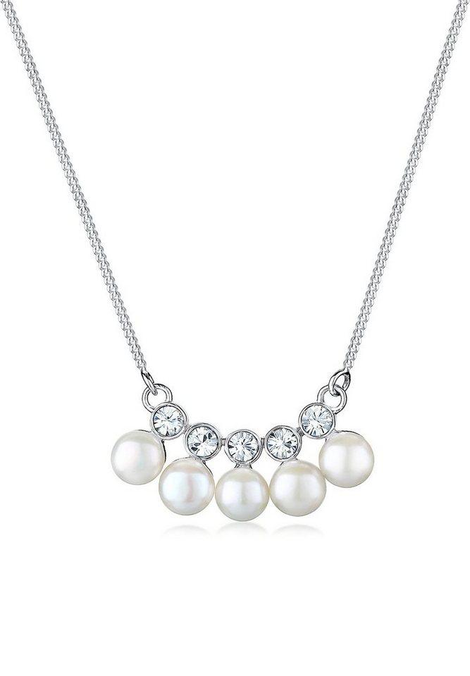 Elli Halskette »Süßwasserzuchtperle Swarovski® Kristall 925 Silber« in Silber