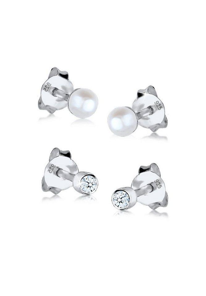 Diamore Set: Ohrringe »Diamant Süßwasserzuchtperle 925 Silber« 2 tlg. in Weiß