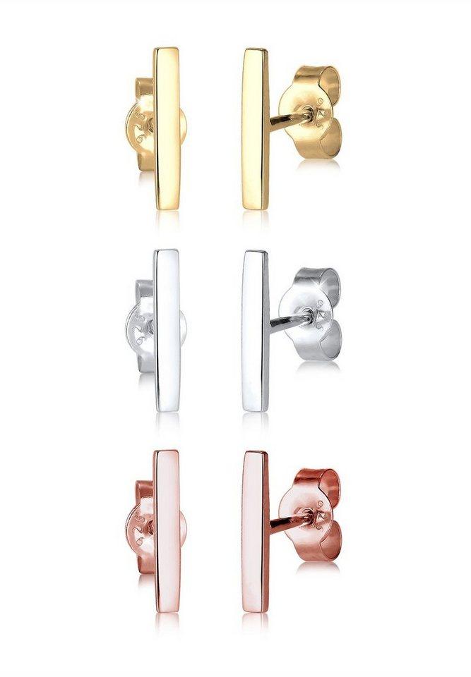 Elli Set: Ohrringe »Basic Tricolor 925 Sterling Silber« 3 tlg. in Silber