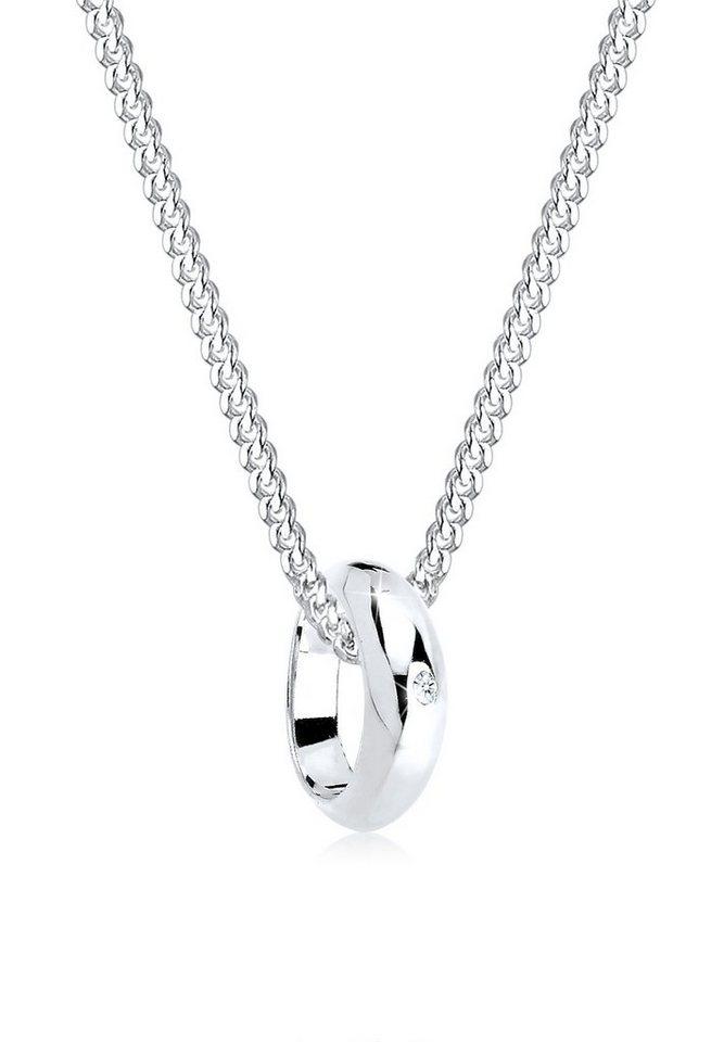 Diamore Halskette »Kreis Ring Diamant 925 Sterling Silber« in Weiß