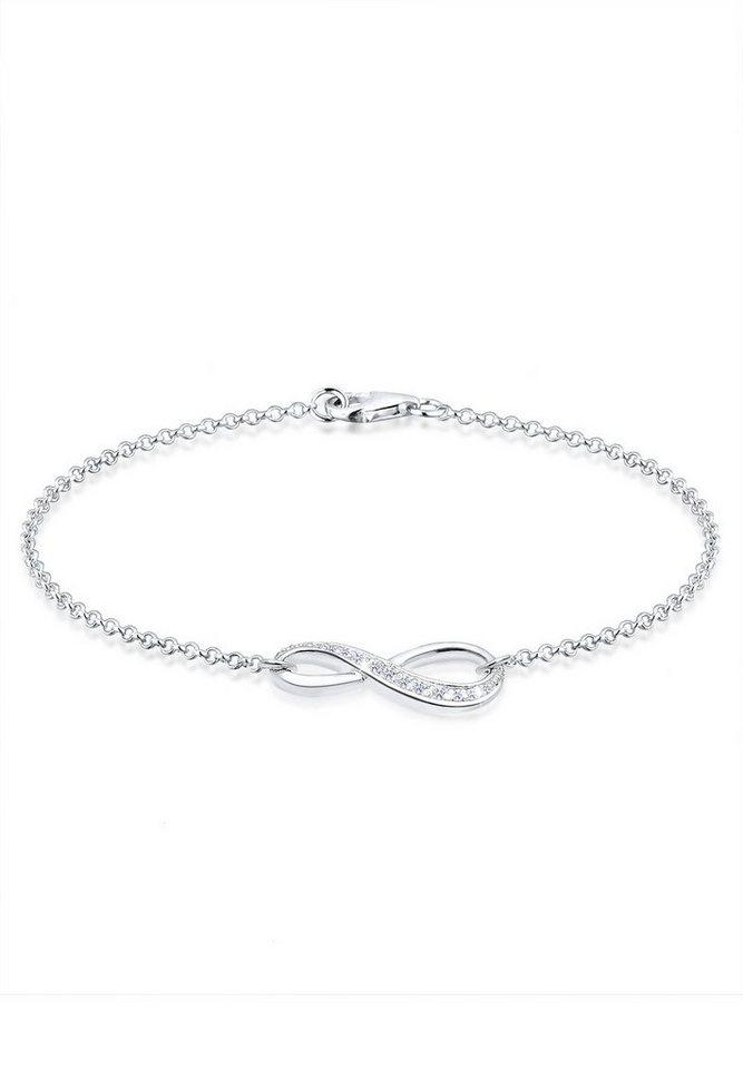Elli Armband »925 Sterling Silber Infinity Zirkonia« in Weiß