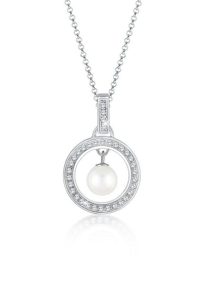 Elli Halskette »Kreis Zirkonia Perle 925 Silber« in Silber