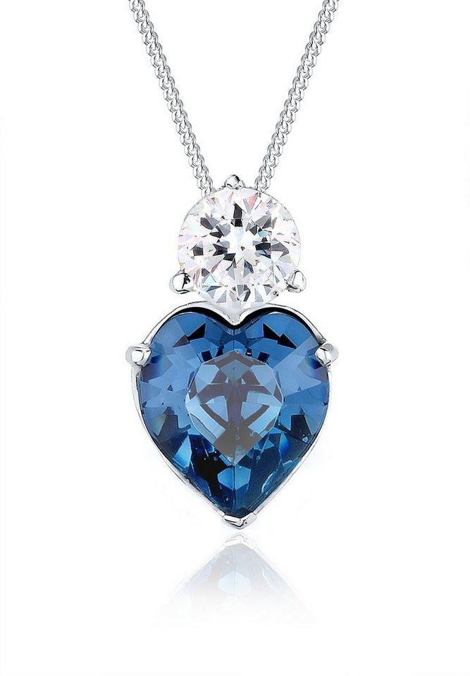 Elli Halskette »Herzfigur Swarovski® Kristalle 925 Sterling Silber« in Blau
