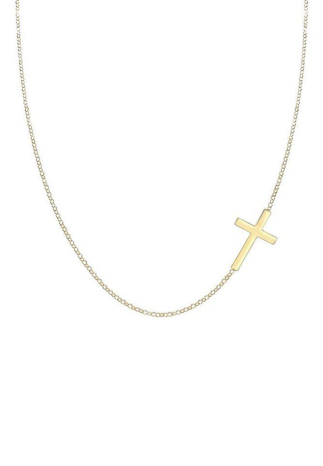 Elli Halskette »Kreuz 925 Sterling Silber« in Gold