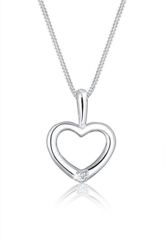 Diamore Halskette »Herz Diamant 925 Sterling Silber« in Weiß
