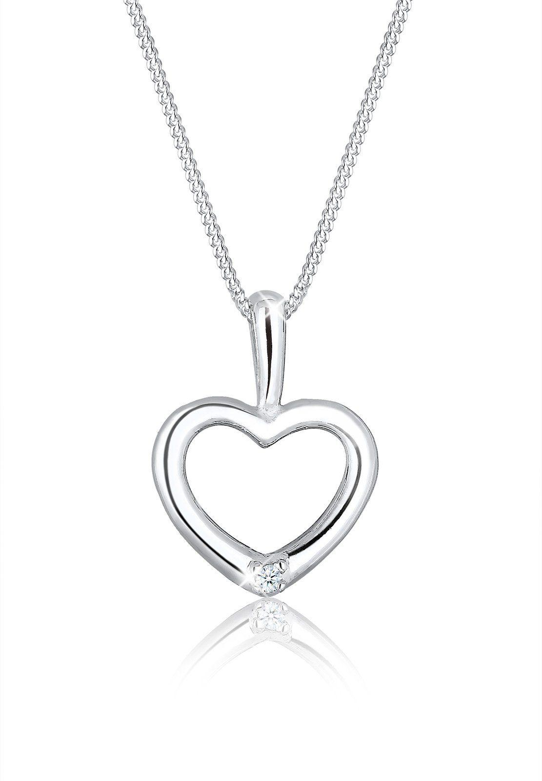 Diamore Halskette »Herz Diamant 925 Sterling Silber«
