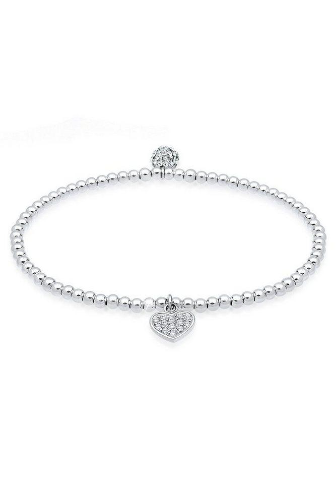 Elli Armband »Herz Swarovski Kristalle 925 Sterling Silber Beads« in Weiß
