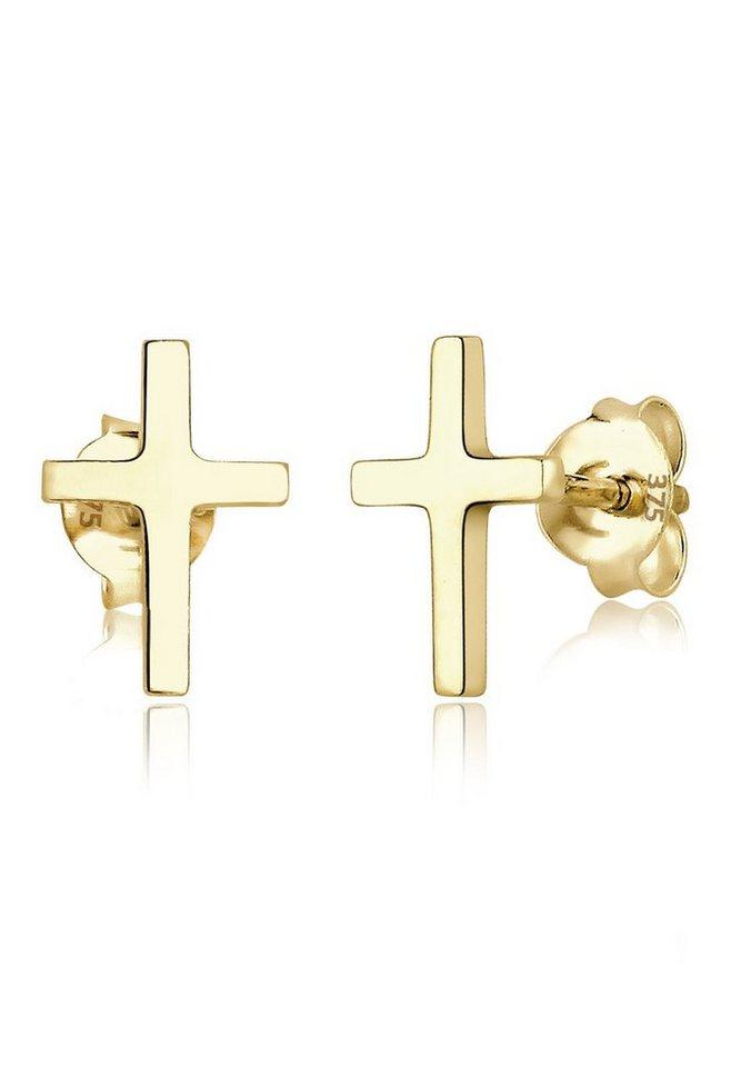 Elli Ohrringe »Kreuz Taufe Kommunion Geschenk Basic 375 Gelbgold« in Gold