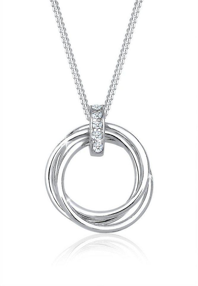 Diamore Halskette »925 Sterling Silber Kreis Trio Diamant« in Weiß
