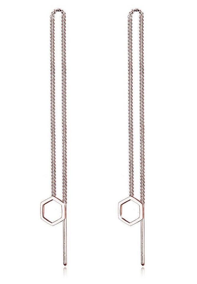 Elli Ohrringe »Hexagon Geo Minimal 925 Sterling Silber« in Rosegold