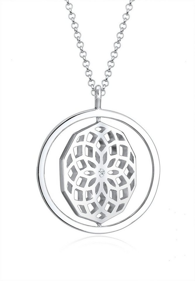 Diamore Halskette »Ornament Drehscheibe Diamant 925 Sterling Silber« in Silber