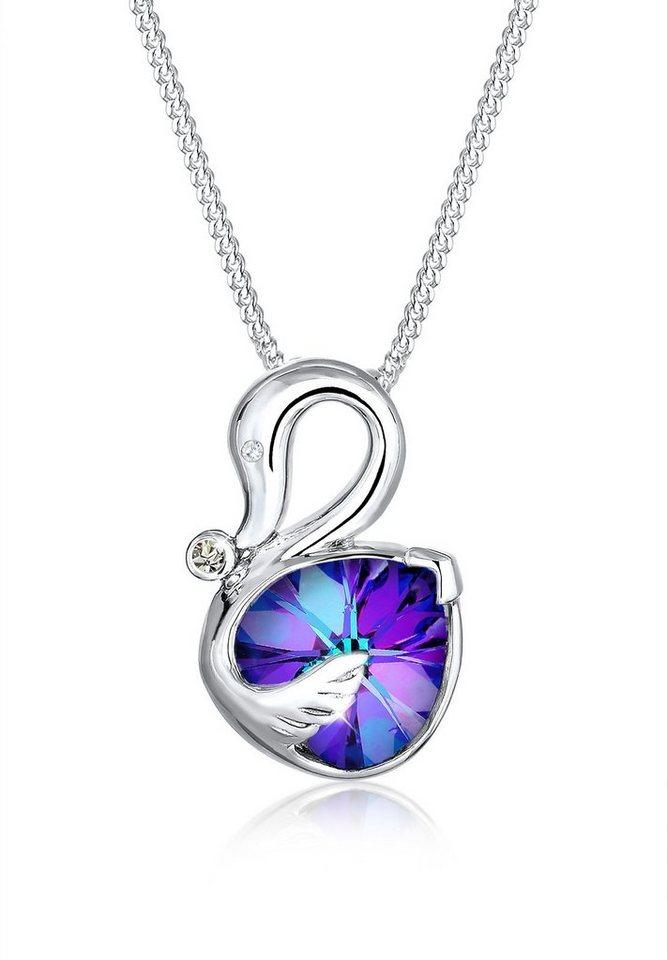 Elli Halskette »Schwan Swarovski® Kristalle 925 Sterling Silber« in Violett