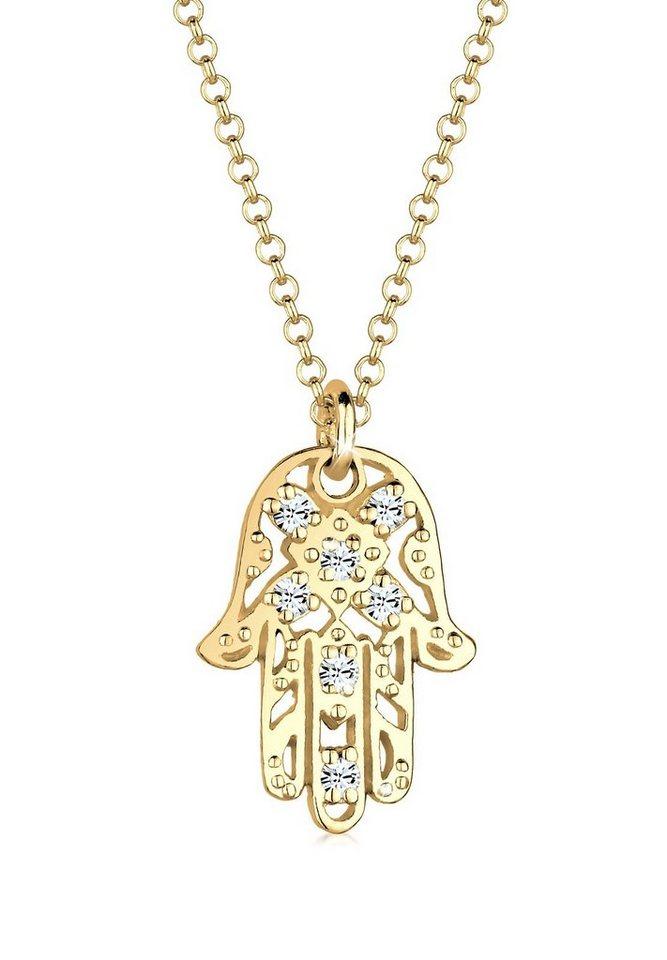 Goldhimmel Halskette »Hamsa Swarovski® Kristalle 925 Sterling Silber« in Gold