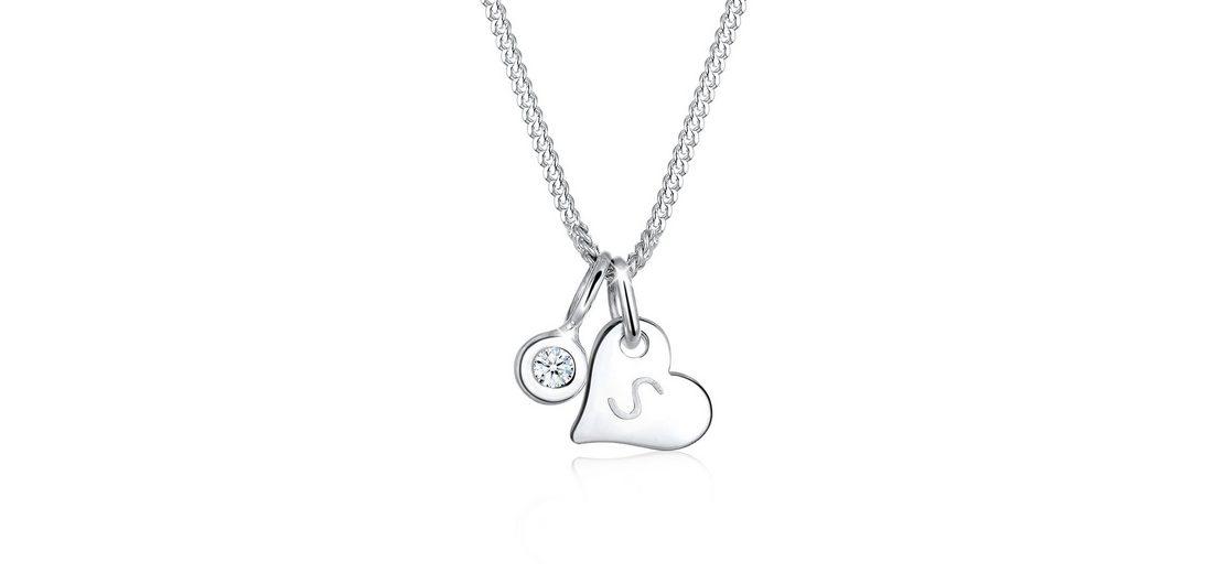 Elli Halskette »Herz Solitär Diamant 925 Sterling Silber«