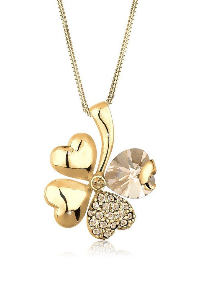 Goldhimmel Halskette »Kleeblatt Swarovski® Kristalle 925 Sterling Silber« in Gold
