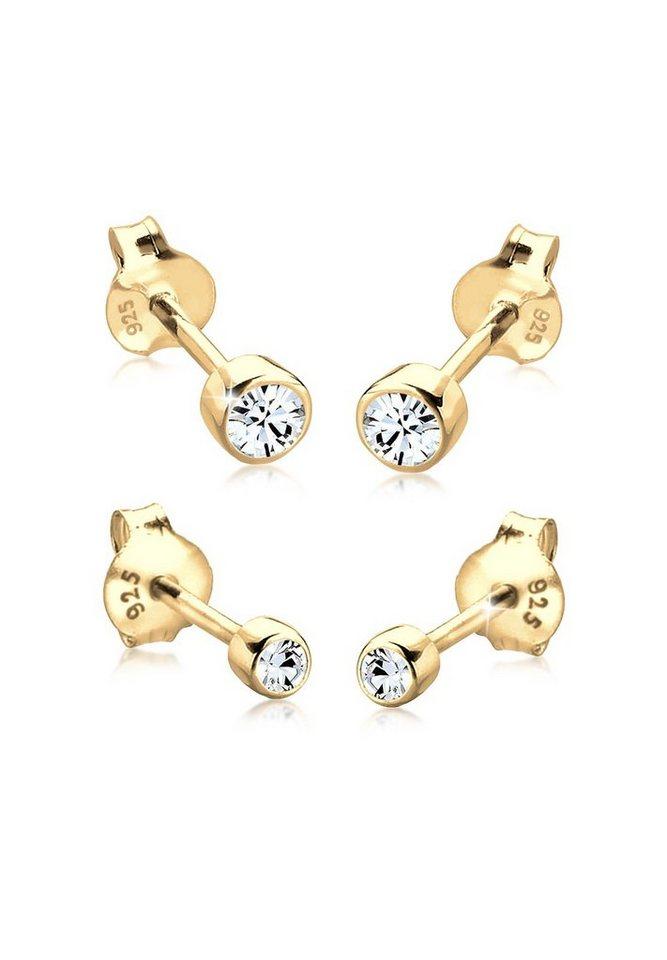 Elli Set: Ohrringe »2er Set Basic Swarovski® Kristalle 925 Silber« 2 tlg. in Gold