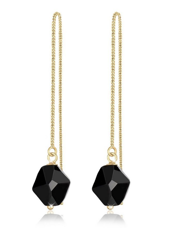 Elli Ohrringe »Swarovski Kristalle 925 Sterling Silber vergoldet« in Schwarz