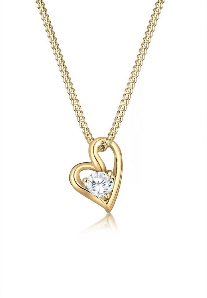 Elli Halskette »Herz Zirkonia 585 Gelbgold« in Gold