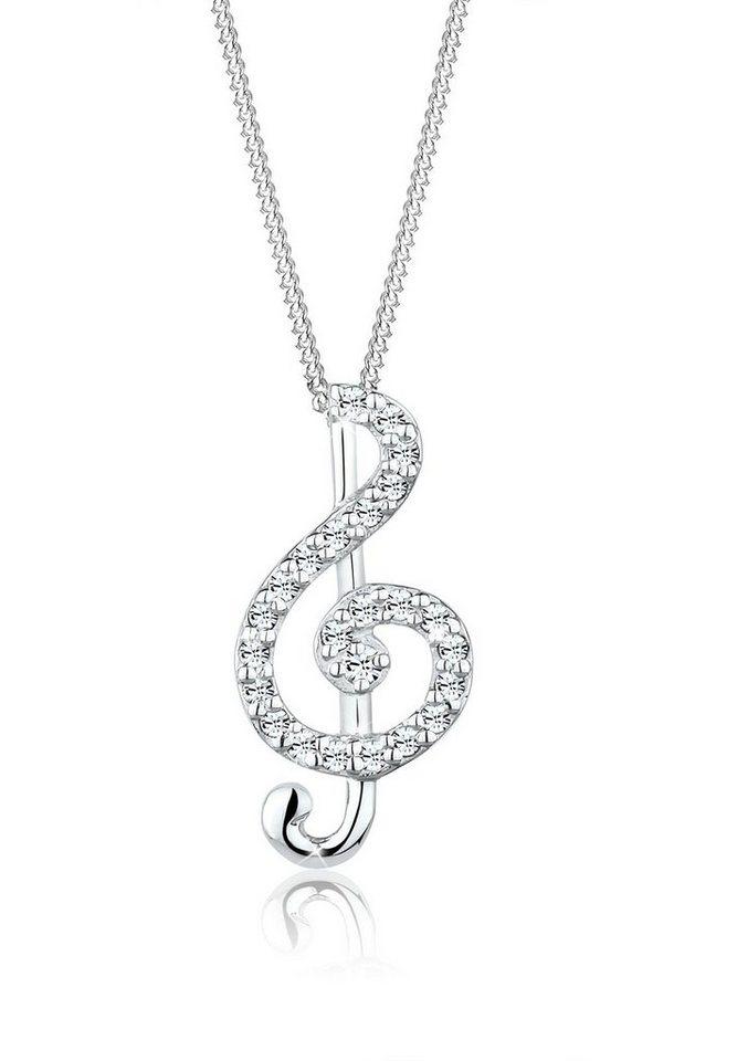 Elli Halskette »Notenschlüssel Swarovski Kristalle 925 Silber« in Weiß