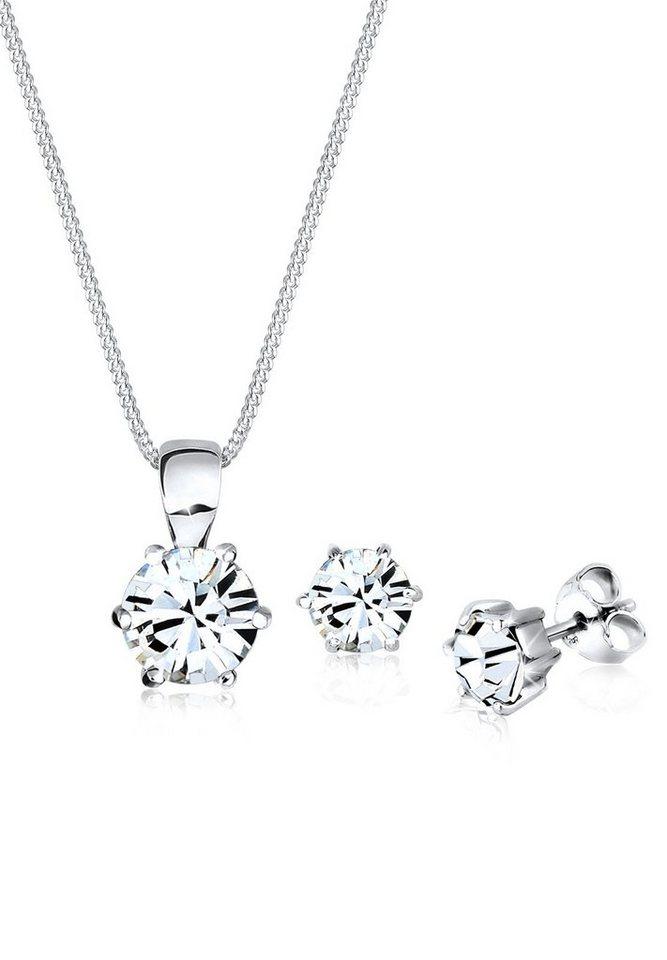 Elli Set: Schmuckset »Basic Swarovski® Kristalle 925 Sterling Silber« 2 tlg. in Weiß