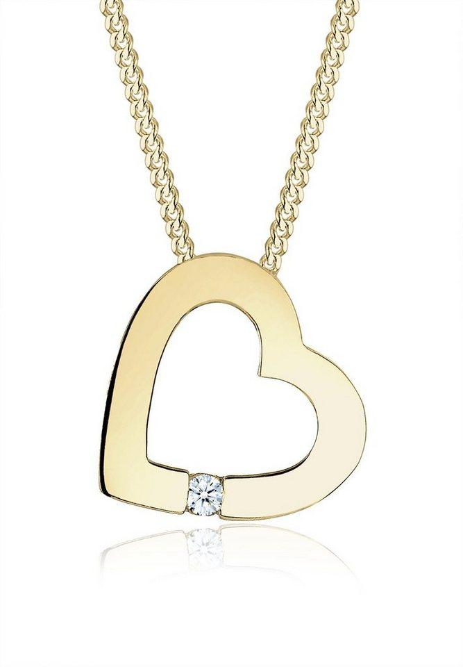 Elli Halskette »Herz Diamant 375 Gelbgold« in Weiß