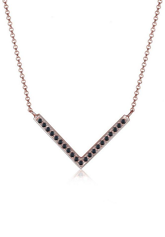 Elli Halskette »V-Kette Dreieck Swarovski® Kristalle 925 Silber« in Schwarz