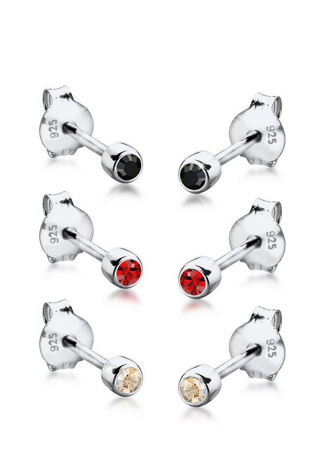 Elli Set: Ohrringe »3er-Set Swarovski® Kristalle 925 Sterling Silber« 3 tlg. in Silber