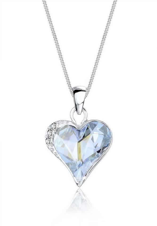 Elli Halskette »Herzchen Swarovski® Kristalle 925 Sterling Silber« in Hellblau