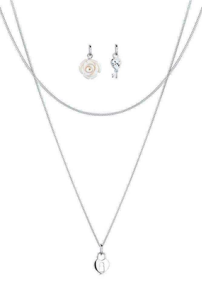 Elli Set: Halskette »Anhänger-Set Rose Schlüssel Herz 925 Silber« 3 tlg. in Weiß