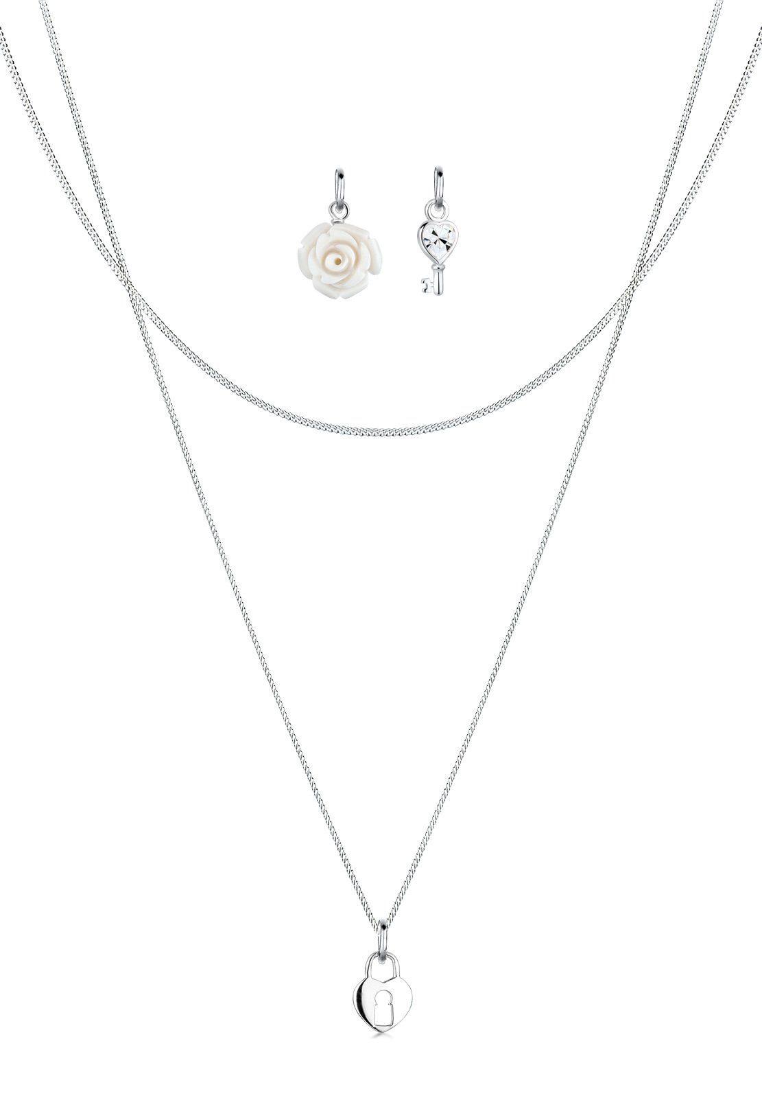 Elli Set: Halskette »Anhänger-Set Rose Schlüssel Herz 925 Silber« 3 tlg.