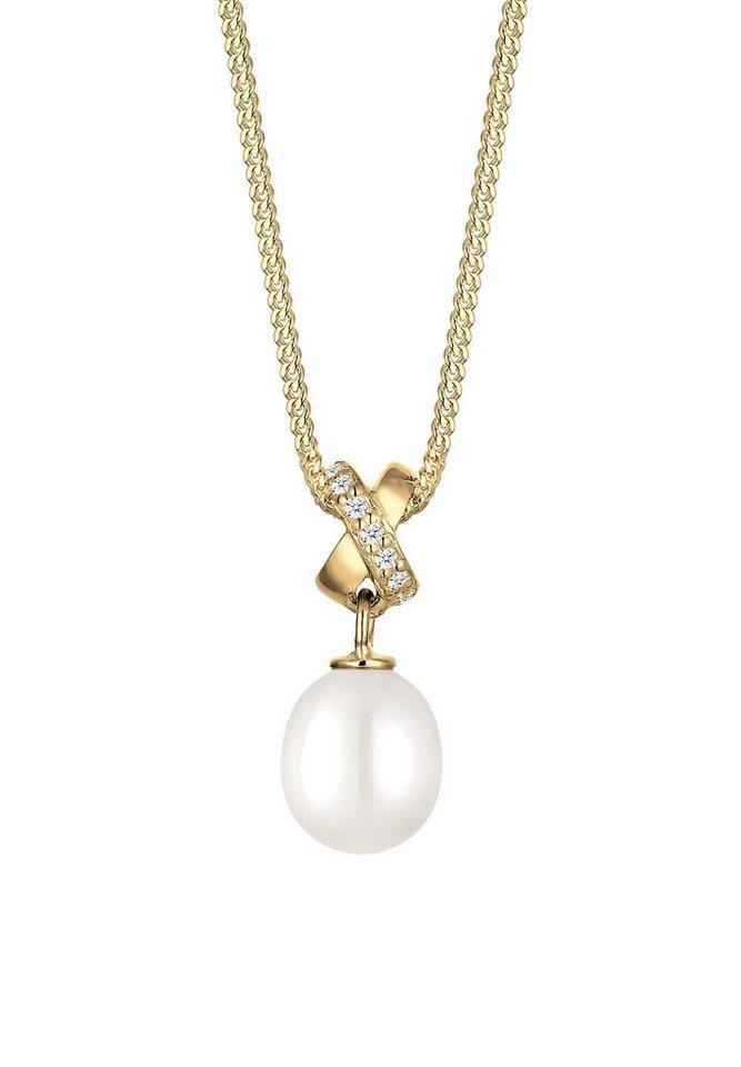 Elli Halskette »Süßwasserzuchtperle Zirkonia 585 Gelbgold« in Weiß