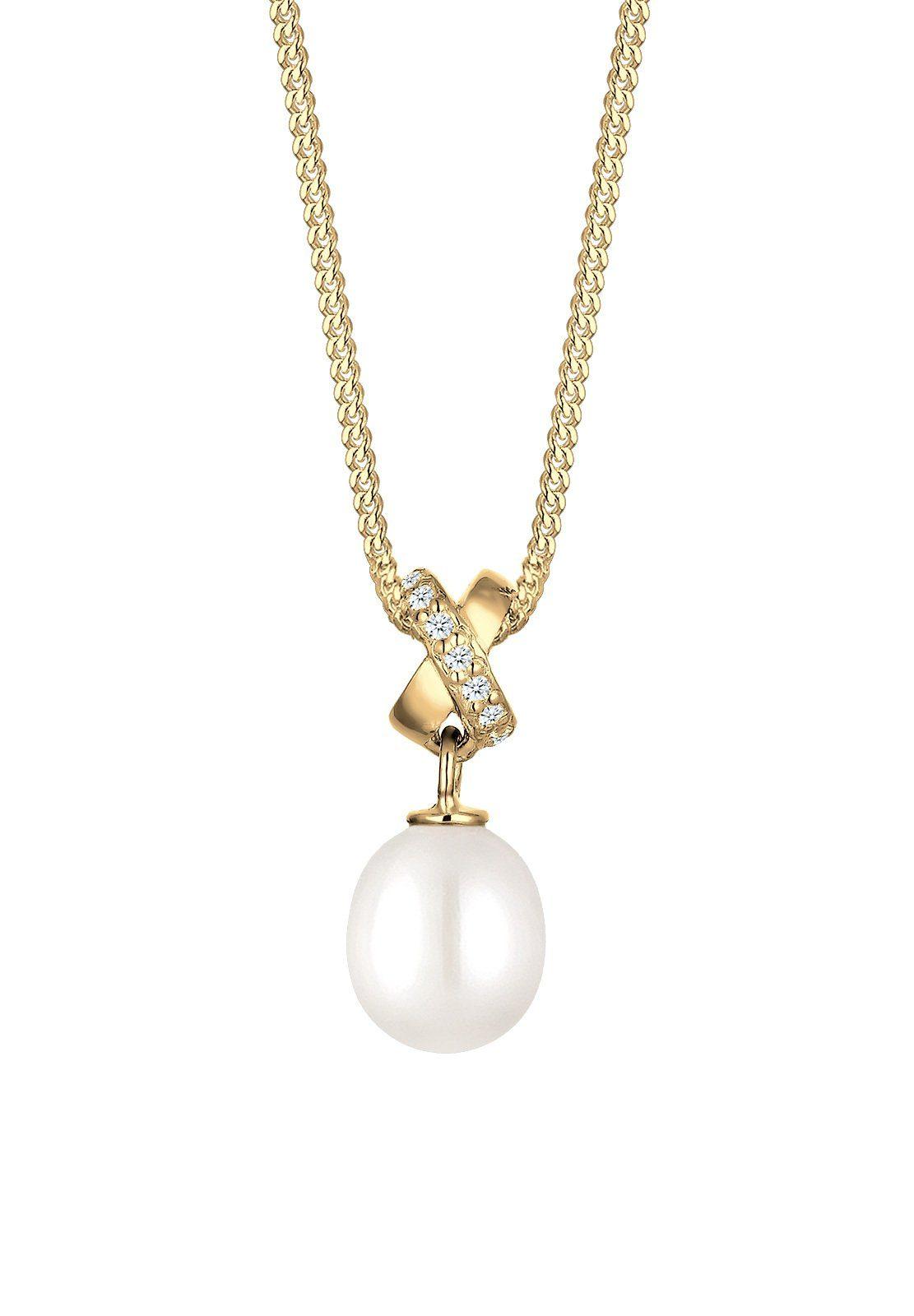 Elli Halskette »Süßwasserzuchtperle Zirkonia 585 Gelbgold«