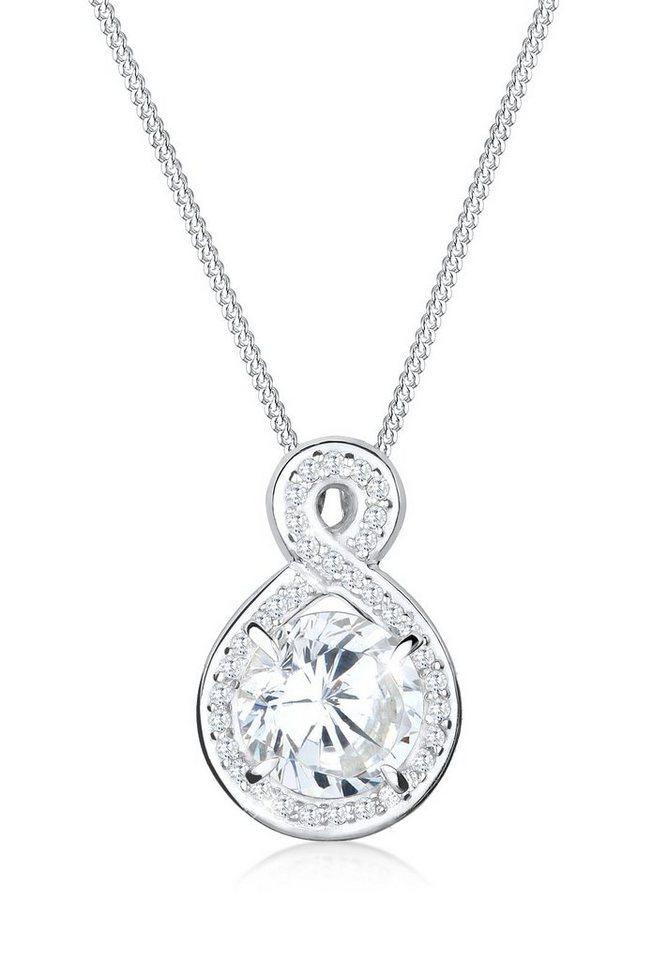 Elli Halskette »Unendlich Funkelnd Zirkonia 925 Sterling Silber« in Weiß