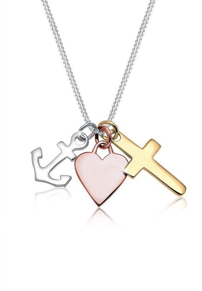 Elli Halskette »Bi-Color Anker Herz Kreuz 925 Silber« in Bunt