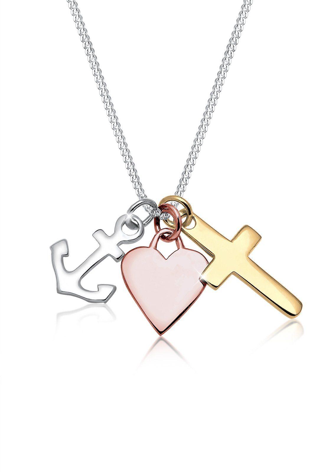 Elli Halskette »Bi-Color Anker Herz Kreuz 925 Silber«