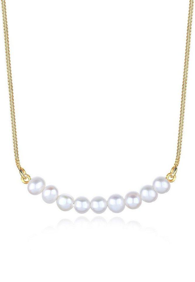 Elli Halskette »Süßwasserperlen 925 Sterling Silber vergoldet« in Weiß