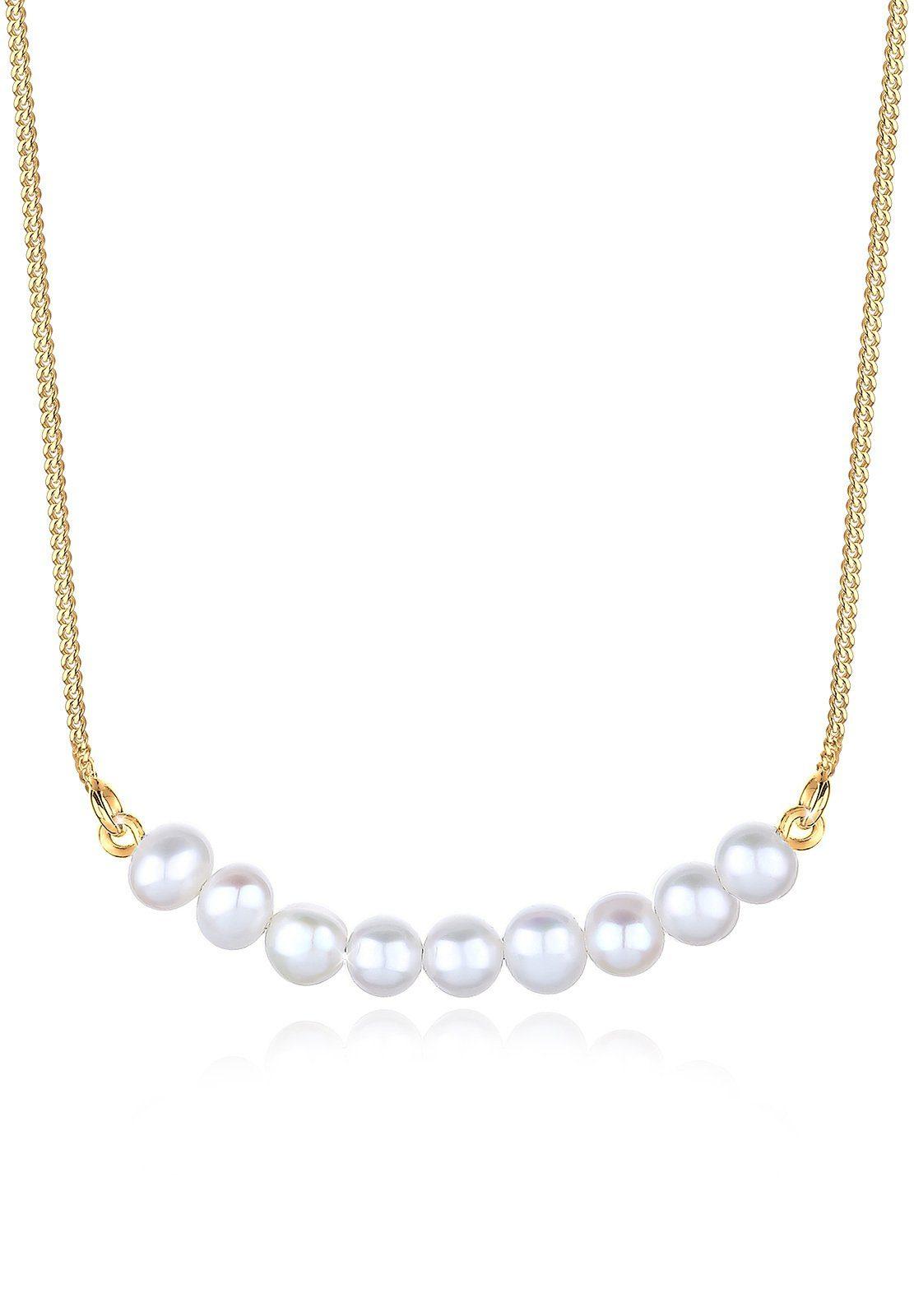 Elli Halskette »Süßwasserperlen 925 Sterling Silber vergoldet«