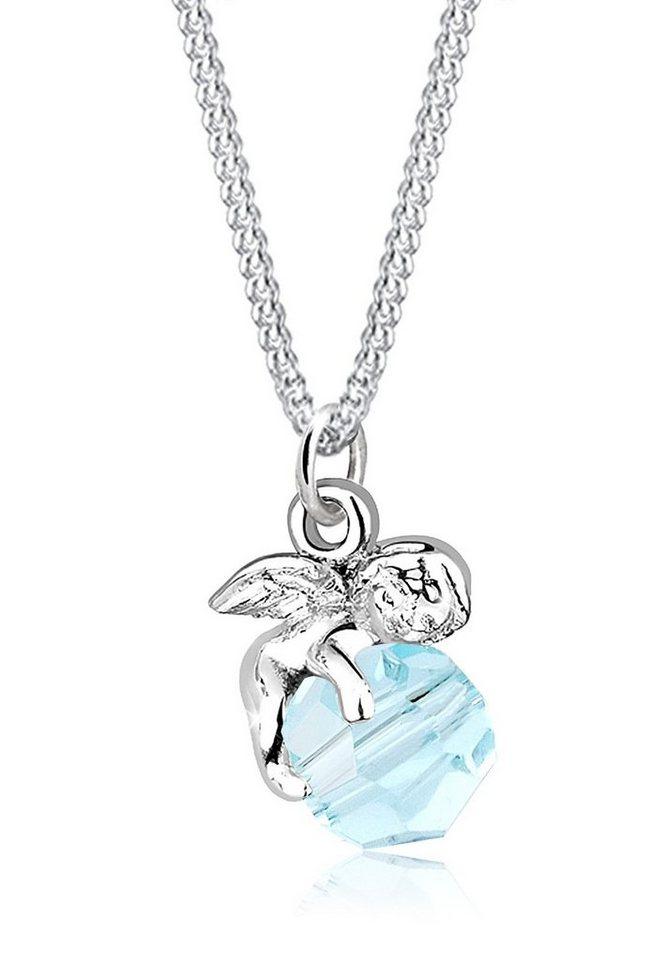 Elli Halskette »Schutzengel Swarovski® Kristall Sterling Silber« in Hellblau