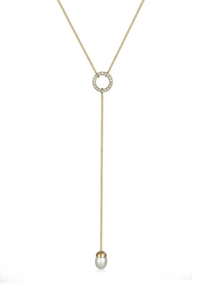Elli Halskette »Y-Kette Swarovski® Kristalle Perle 925 Silber« in Gold