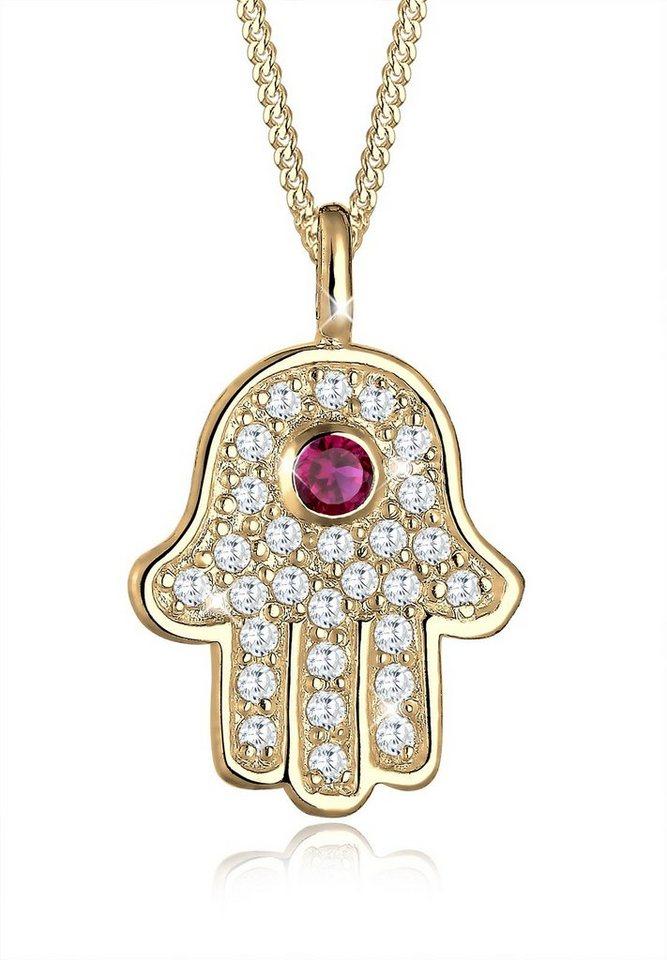 Elli Halskette »Hamsa Hand Fatima Zirkonia 925 Sterling Silber« in Rot