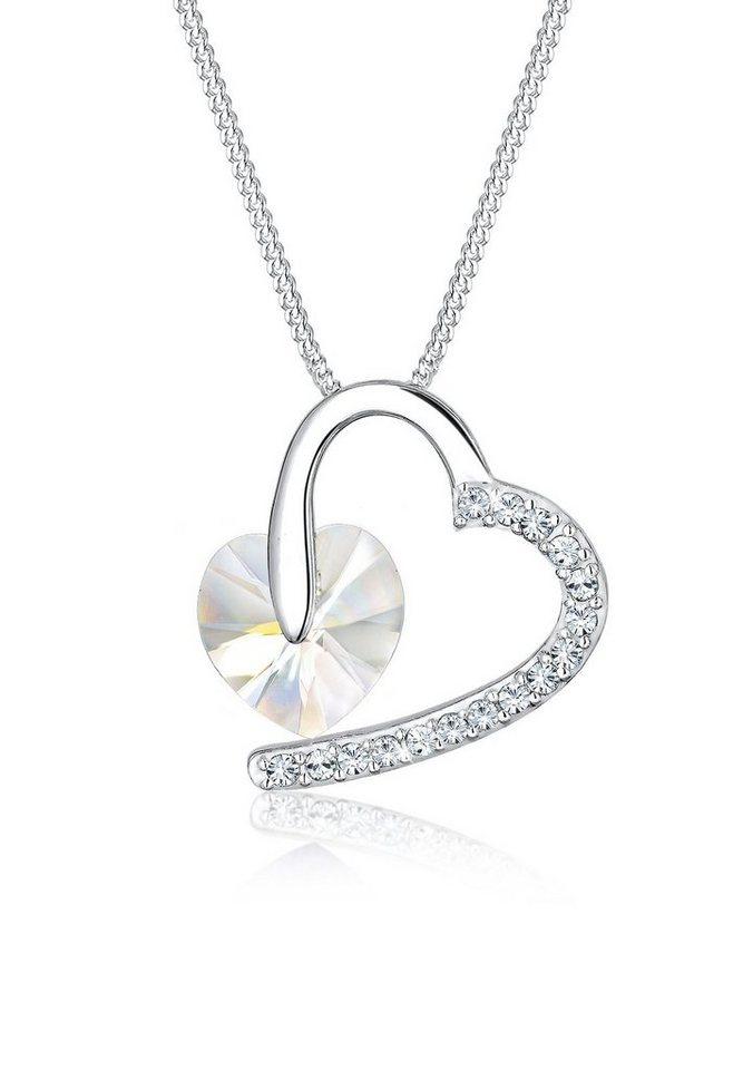 Elli Halskette »Herz Amor Swarovski® Kristalle 925 Sterling Silber« in Weiß
