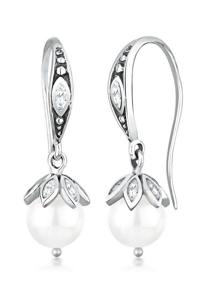 Elli Ohrringe »Süßwasserzuchtperlen Zirkonia 925 Sterling Silber« in Weiß
