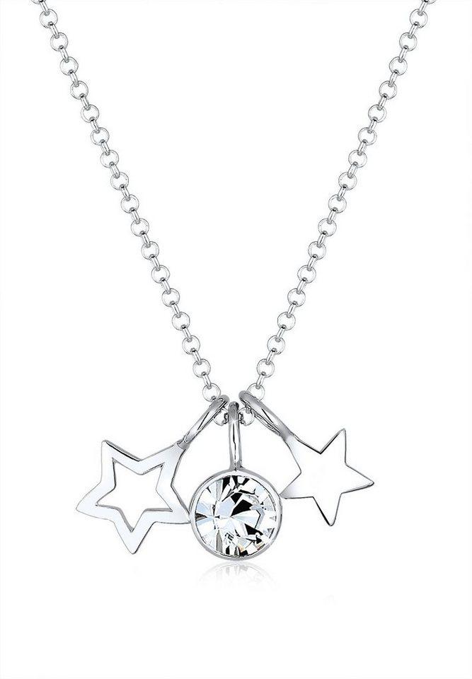 Elli Halskette »Sterne Astro Swarovski® Kristalle 925 Silber« in Silber