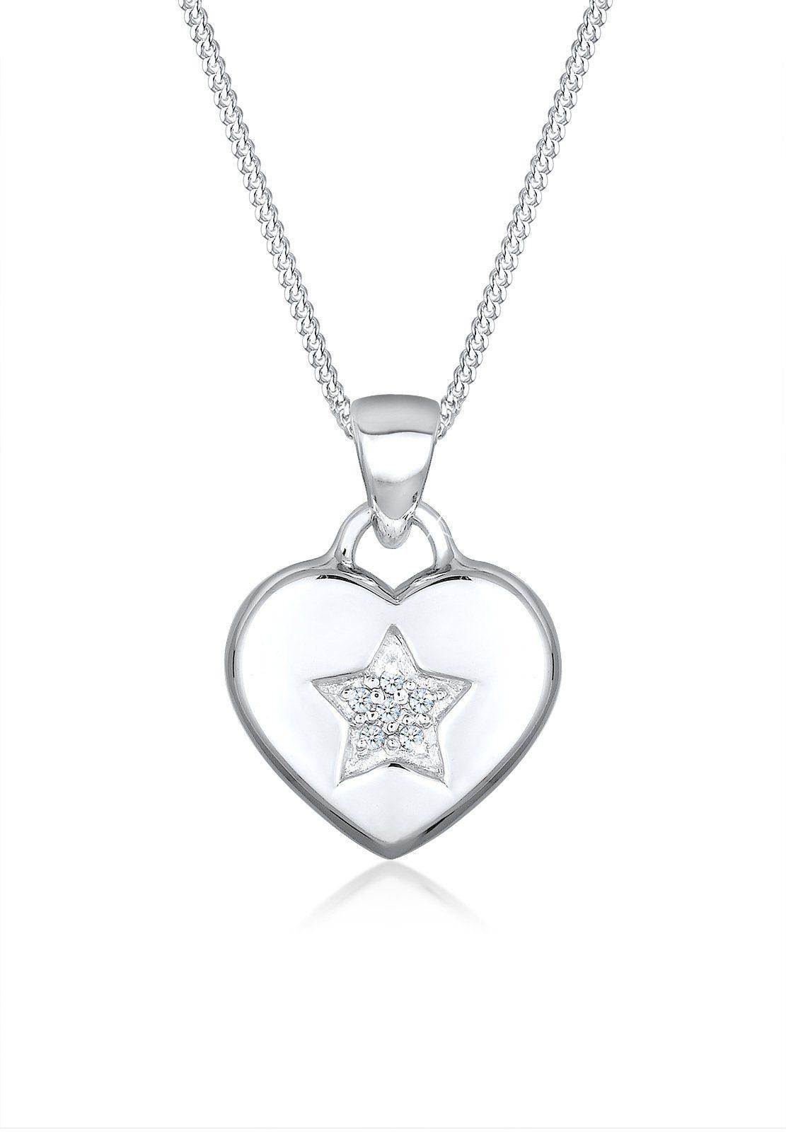 Diamore Halskette »Herz Stern Diamant 925 Sterling Silber«