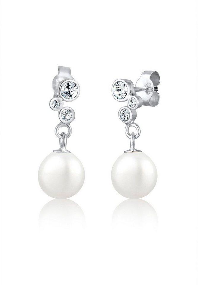 Elli Ohrringe »Perlenohrhänger Swarovski Kristalle 925 Silber« in Weiß