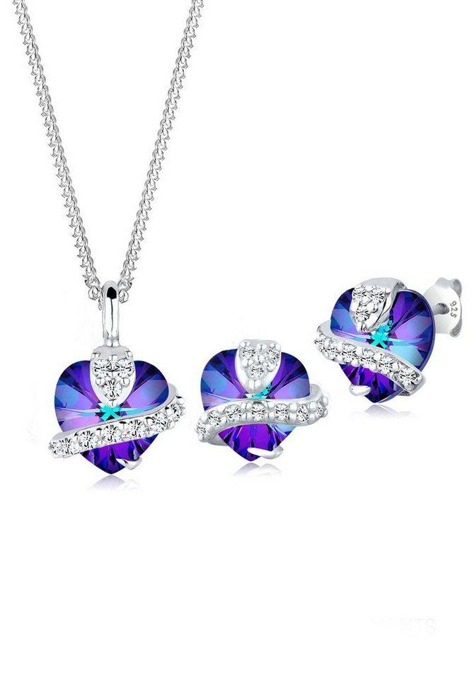Elli Set: Schmuckset »Herz Swarovski® Kristall 925 Silber *Geschenkidee*« 2 tlg. in Violett