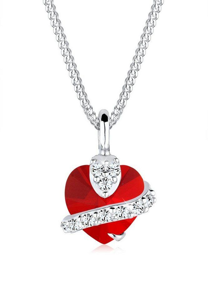 Elli Halskette »Herz Swarovski® Kristall 925 Sterling Silber« in Rot