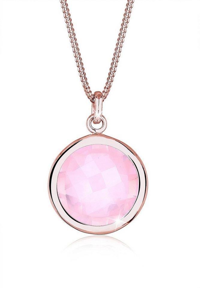 Elli Halskette »Madagaskar-Rosenquarz 925 Sterling Silber Roségold« in Rosa